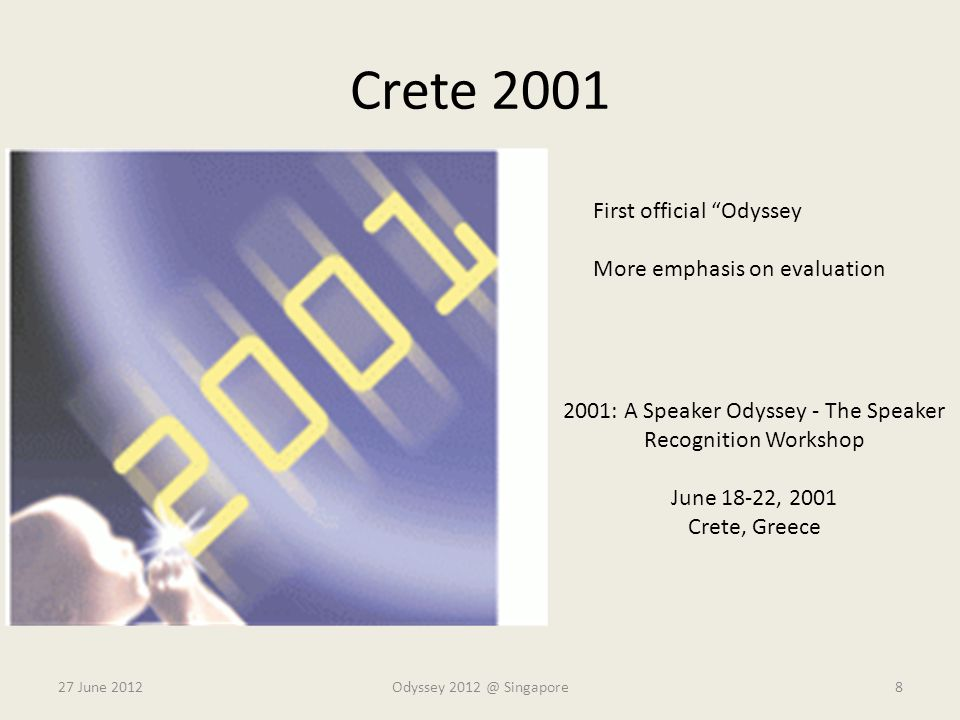 Crete 2001 27 June 2012 2001: A Speaker Odyssey - The Speaker Recognition Workshop June 18-22, 2001 Crete, Greece Odyssey 2012 @ Singapore8 First offi