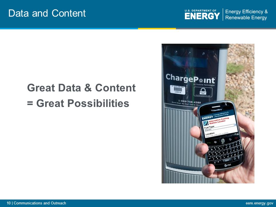 10 | Communications and Outreacheere.energy.gov Great Data & Content = Great Possibilities Data and Content