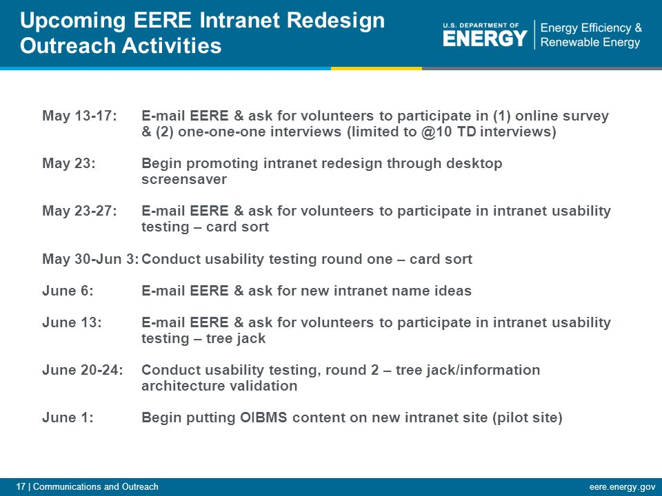 17 | Communications and Outreacheere.energy.gov Upcoming EERE Intranet Redesign Outreach Activities May 13-17: E-mail EERE & ask for volunteers to par