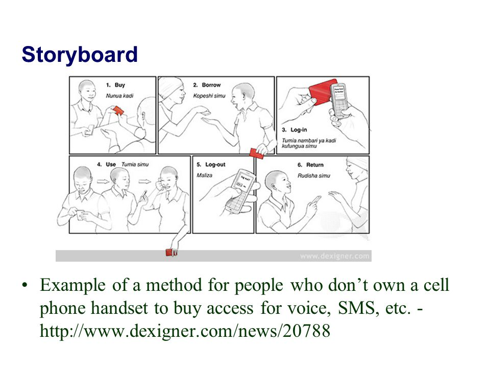 Storyboard Example of a method for people who don't own a cell phone handset to buy access for voice, SMS, etc. - http://www.dexigner.com/news/20788