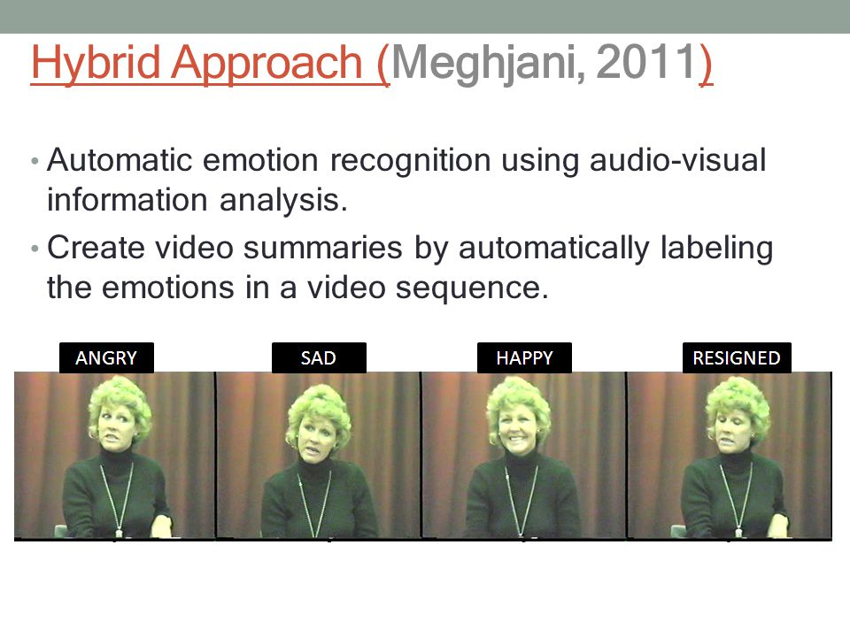Hybrid Approach (Meghjani, 2011) Automatic emotion recognition using audio-visual information analysis.