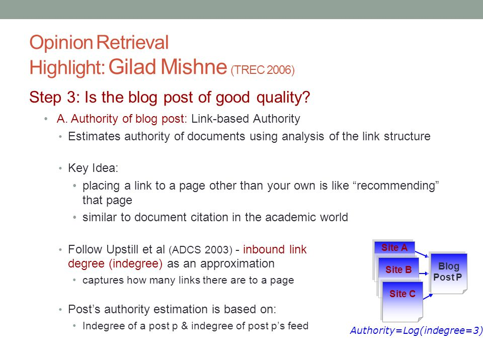 Opinion Retrieval Highlight: Gilad Mishne (TREC 2006) Step 3: Is the blog post of good quality.