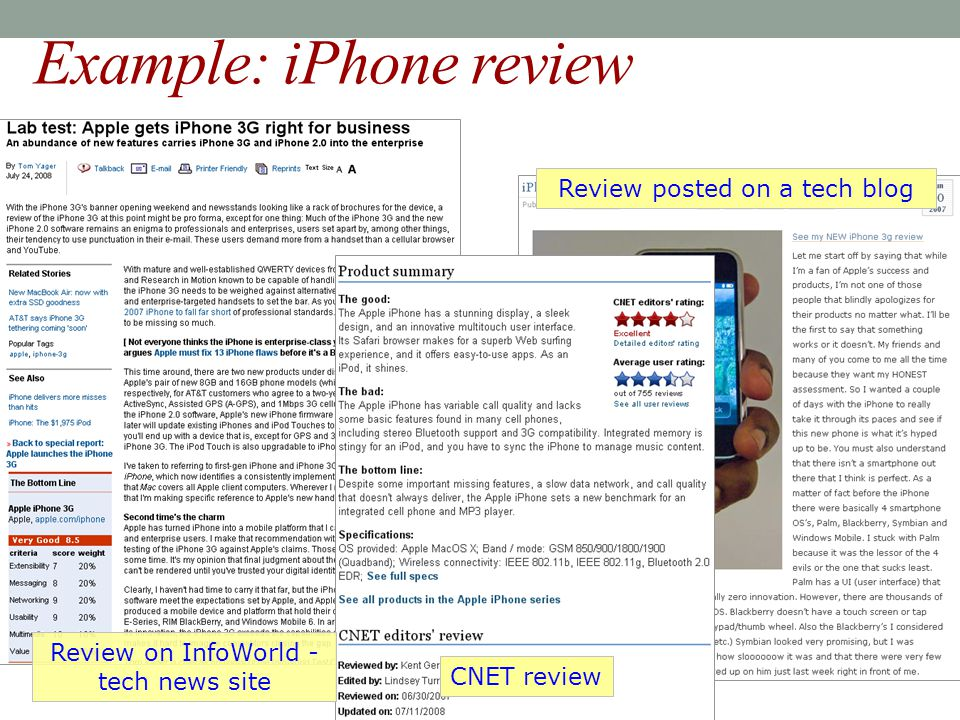 Example: iPhone review CNET review Review on InfoWorld - tech news site Review posted on a tech blog