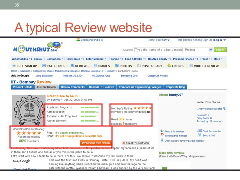 35 A typical Review website