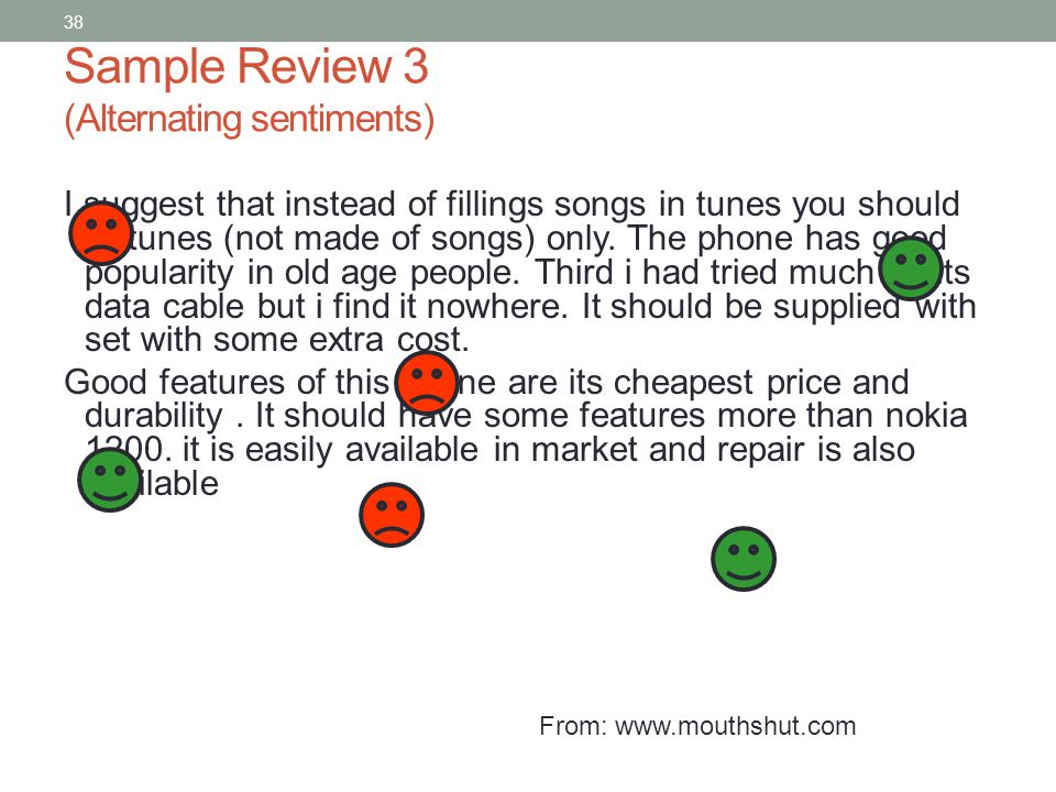 38 Sample Review 3 (Alternating sentiments) I suggest that instead of fillings songs in tunes you should fill tunes (not made of songs) only.