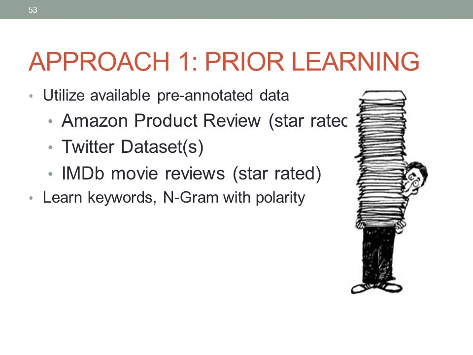 53 APPROACH 1: PRIOR LEARNING Utilize available pre-annotated data Amazon Product Review (star rated) Twitter Dataset(s) IMDb movie reviews (star rated) Learn keywords, N-Gram with polarity 53