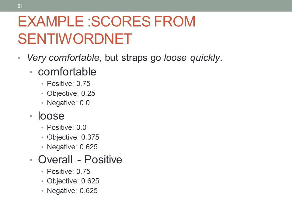 61 EXAMPLE :SCORES FROM SENTIWORDNET Very comfortable, but straps go loose quickly.