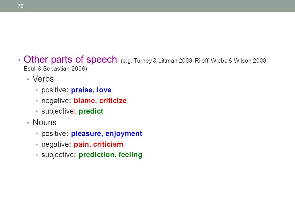 76 Other parts of speech (e.g.