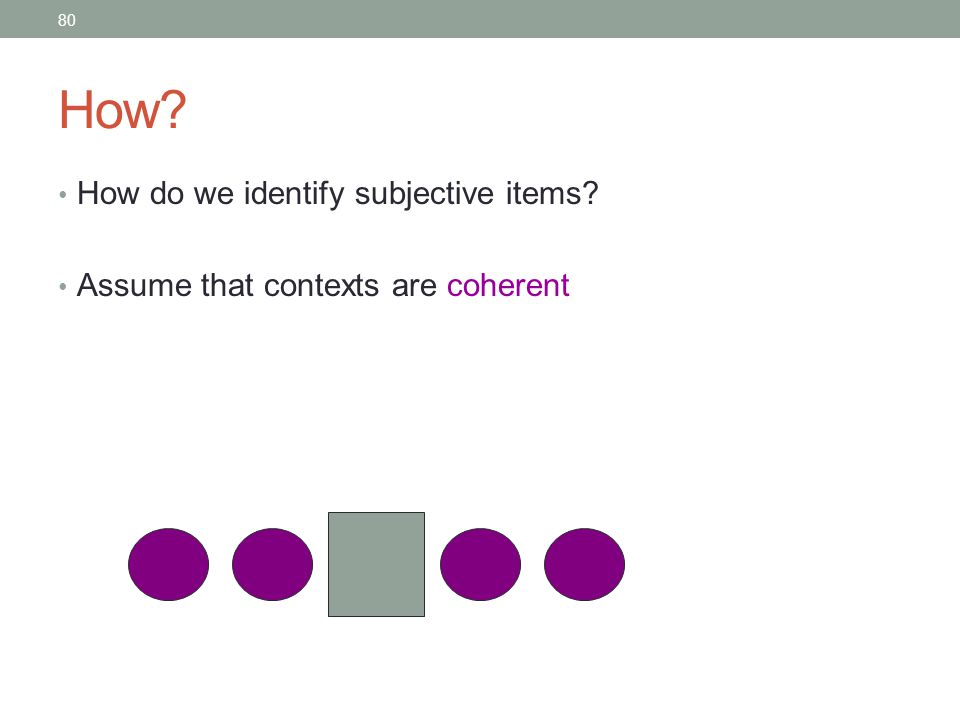 80 How How do we identify subjective items Assume that contexts are coherent
