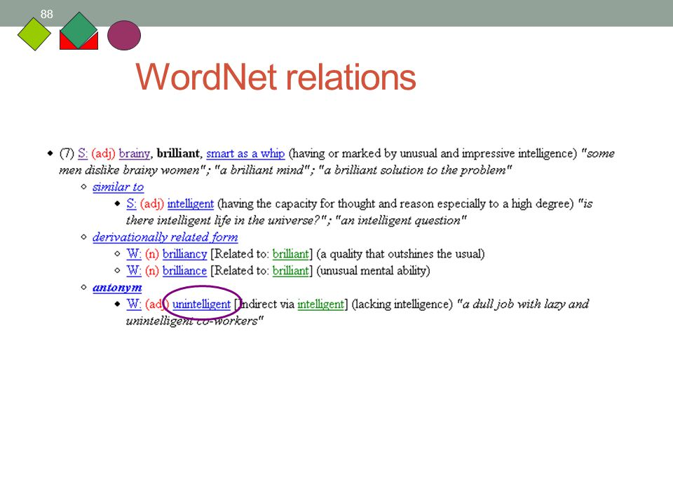 88 WordNet relations