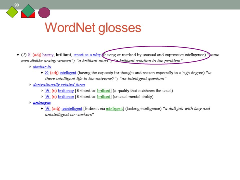 90 WordNet glosses