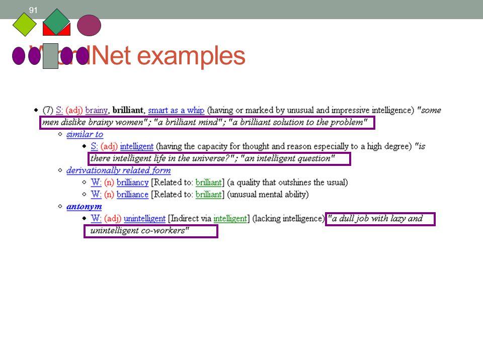 91 WordNet examples