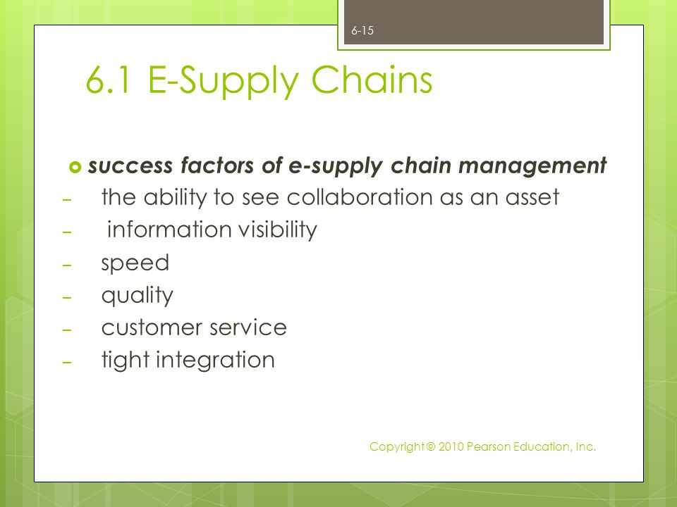 6.1 E-Supply Chains  success factors of e-supply chain management – the ability to see collaboration as an asset – information visibility – speed – q
