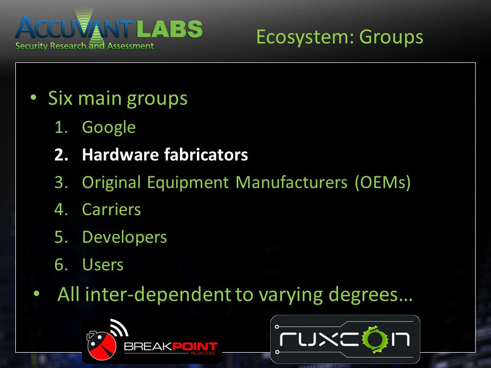 Ecosystem: Groups Six main groups 1.Google 2.Hardware fabricators 3.Original Equipment Manufacturers (OEMs) 4.Carriers 5.Developers 6.Users All inter-