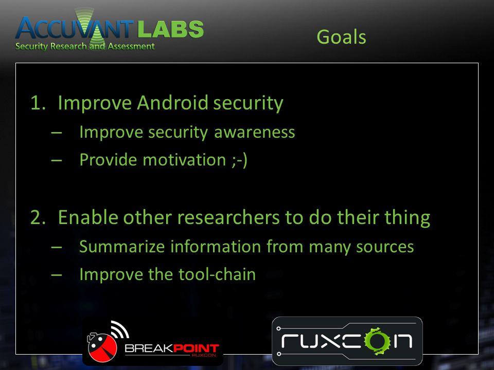 Debugging: Example ubvm:0:galaxynexus$ ls -l app_process lib*so linker -rw------- 1 jdrake jdrake 9.7K May 6 02:21 app_process lrwxrwxrwx 1 jdrake jdrake 26 Jun 1 23:54 libc.so -> symbols/system/lib/libc.so* lrwxrwxrwx 1 jdrake jdrake 28 Jun 1 23:42 libdvm.so -> symbols/system/lib/libdvm.so* lrwxrwxrwx 1 jdrake jdrake 31 Jun 26 22:19 libstdc++.so -> symbols/system/lib/libstdc++.so* lrwxrwxrwx 1 jdrake jdrake 32 May 29 04:24 libwebcore.so -> symbols/system/lib/libwebcore.so* -rw------- 1 jdrake jdrake 39K May 6 02:20 linker ubvm:0:galaxynexus$ cat stuff.gdb set solib-search-path.