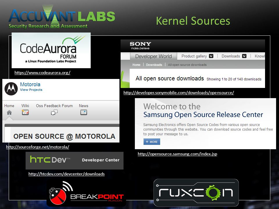 http://sourceforge.net/motorola/ Kernel Sources https://www.codeaurora.org/ http://developer.sonymobile.com/downloads/opensource/ http://opensource.sa