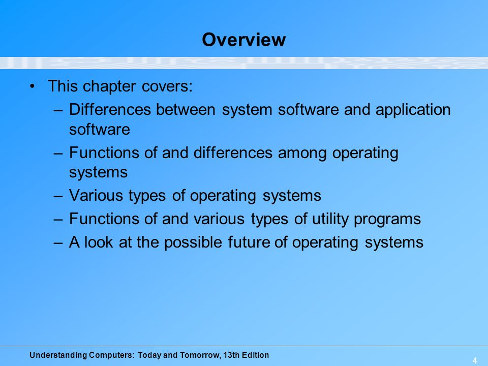 Understanding Computers: Today and Tomorrow, 13th Edition Windows –Windows 7: Newest version of Windows released Oct.