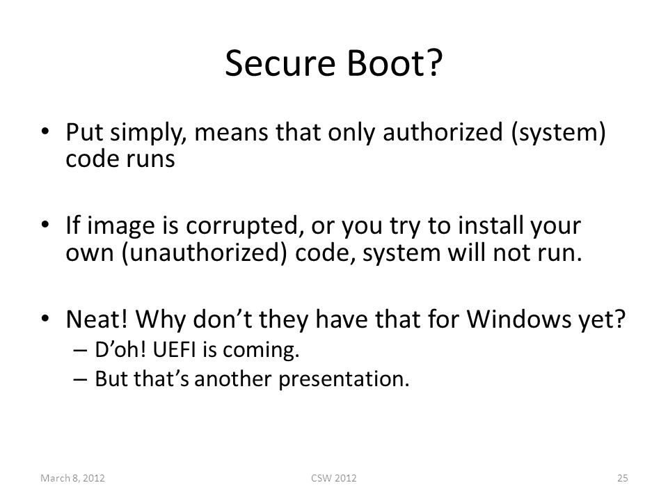 Secure Boot.