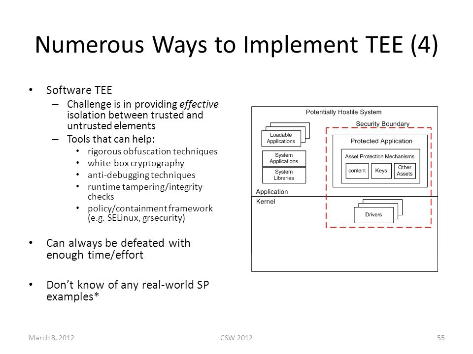 Numerous Ways to Implement TEE (4) Software TEE – Challenge is in providing effective isolation between trusted and untrusted elements – Tools that can help: rigorous obfuscation techniques white-box cryptography anti-debugging techniques runtime tampering/integrity checks policy/containment framework (e.g.