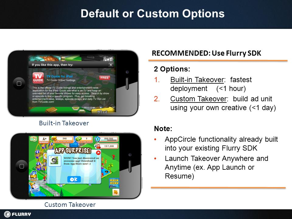 Re-Engagement is in Demand, And Will Pay You Top-$ Until now, advertisers had no efficient way to bring their best users back 1.Flurry helps advertisers determine the best users of their app 2.Now, Flurry can reach those users across other apps 3.You get paid every time a targeted user re-launches an advertiser's app Why AppCircle Re-engagement works to earn you top dollar 1.Click-through rates are high because consumers already recognize the app 2.Conversion is high because it takes just one click to complete the conversion 3.Advertisers pay more because they get their best users back 4.You get paid each time the consumer re-engages Fill rate is high because CPI and AC Clips are used as backfill 1.Users see CPI and AC Clips ads when CPR units aren't available 2.Ad inventory is already over-subscribed for CPI and AC Clips 3.eCPMs pay-out upwards of $6 for CPI and $11 for Clips Simple SDK integration delivers hugely positive ROI for your work