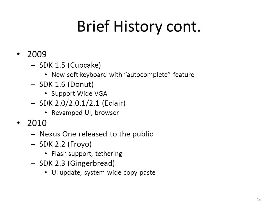 Brief History cont.