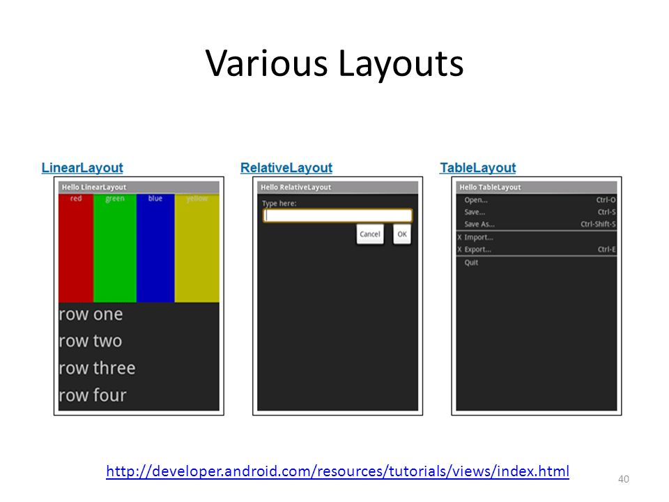 Various Layouts http://developer.android.com/resources/tutorials/views/index.html 40