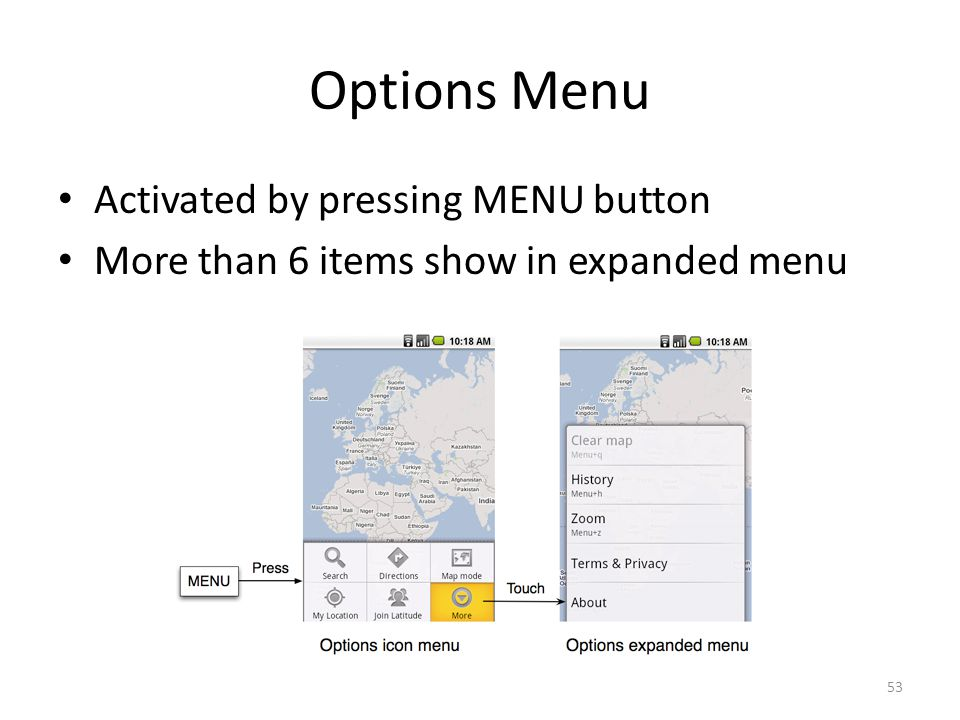 Options Menu Activated by pressing MENU button More than 6 items show in expanded menu 53