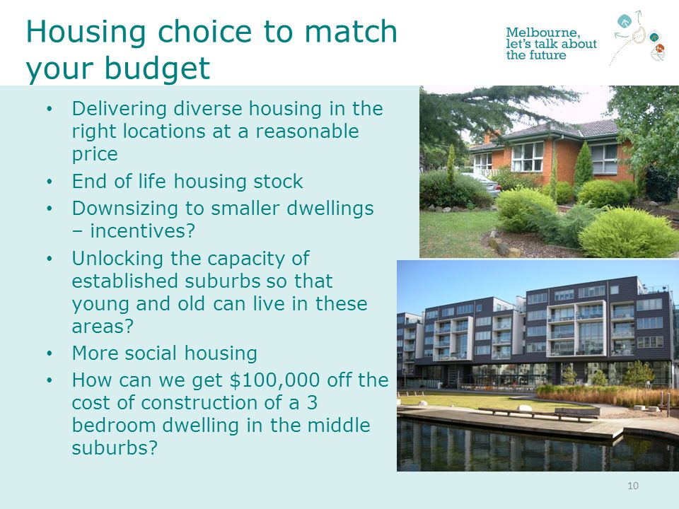 Delivering diverse housing in the right locations at a reasonable price End of life housing stock Downsizing to smaller dwellings – incentives.