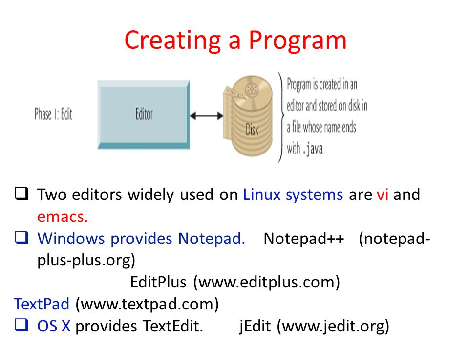 Creating a Program  Two editors widely used on Linux systems are vi and emacs.  Windows provides Notepad. Notepad++ (notepad- plus-plus.org) EditPlu