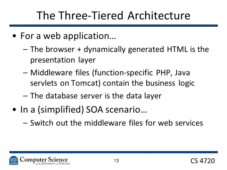CS 4720 The Three-Tiered Architecture For a web application… –The browser + dynamically generated HTML is the presentation layer –Middleware files (function-specific PHP, Java servlets on Tomcat) contain the business logic –The database server is the data layer In a (simplified) SOA scenario… –Switch out the middleware files for web services 13