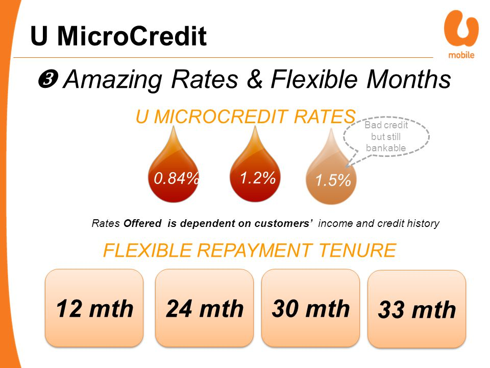 0.84%1.2% Rates Offered is dependent on customers' income and credit history U MICROCREDIT RATES FLEXIBLE REPAYMENT TENURE 12 mth 24 mth 30 mth U MicroCredit  Amazing Rates & Flexible Months 1.5% Bad credit but still bankable 33 mth