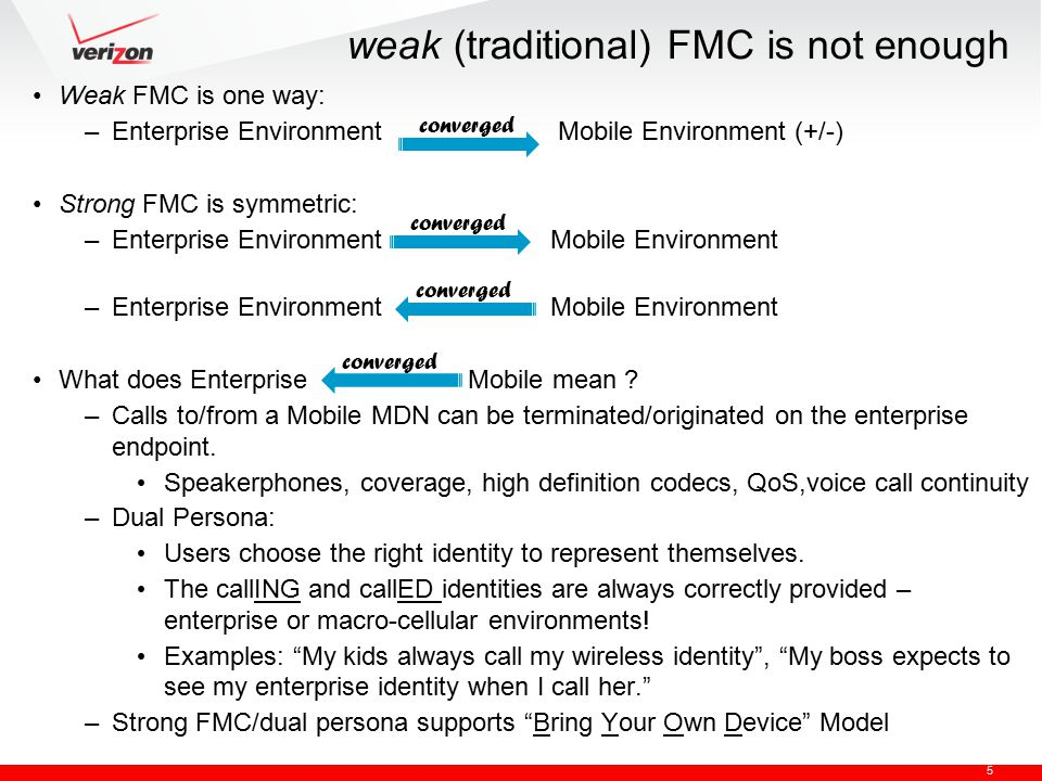 5 weak (traditional) FMC is not enough Weak FMC is one way: –Enterprise Environment Mobile Environment (+/-) Strong FMC is symmetric: –Enterprise Envi