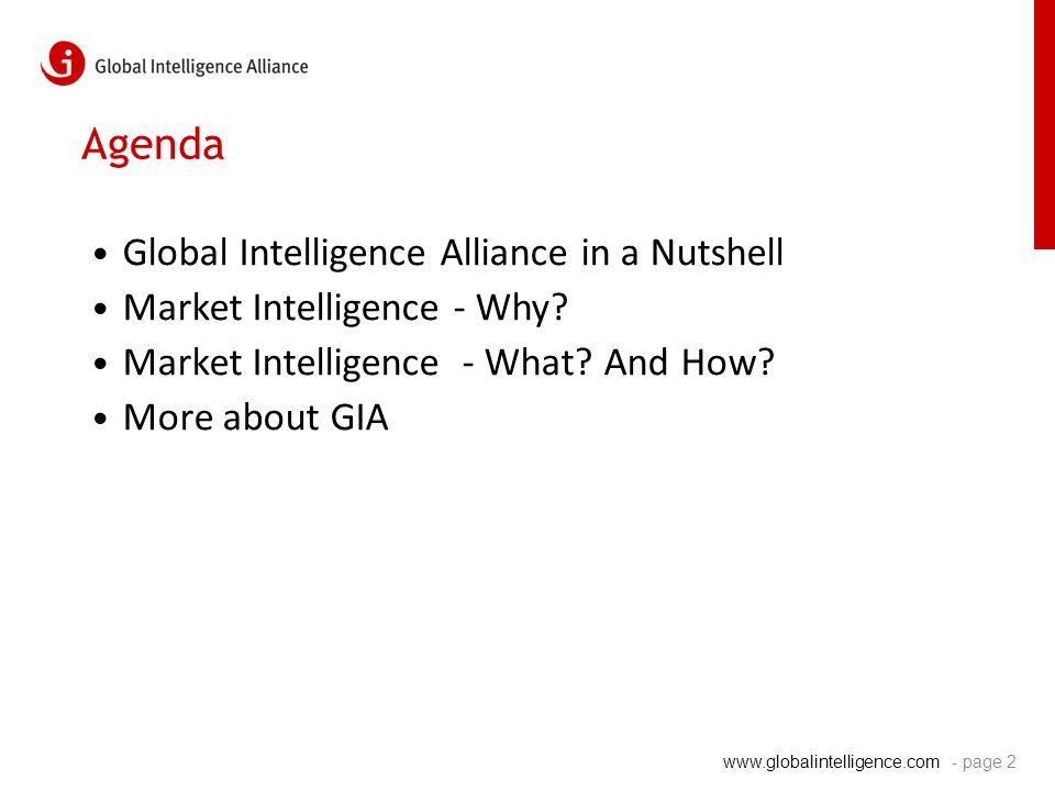www.globalintelligence.com Agenda Global Intelligence Alliance in a Nutshell Market Intelligence - Why.