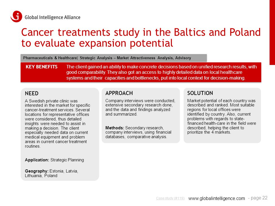 www.globalintelligence.com Cancer treatments study in the Baltics and Poland to evaluate expansion potential NEED A Swedish private clinic was interes