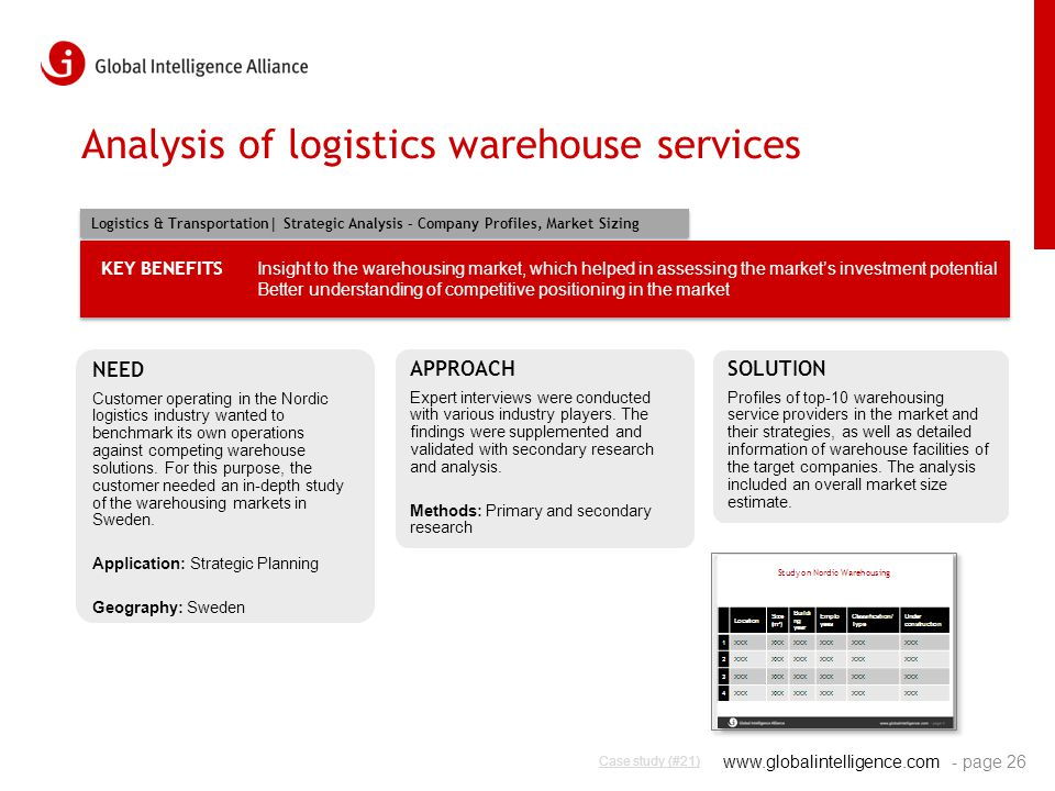 www.globalintelligence.com Analysis of logistics warehouse services - page 26 NEED Customer operating in the Nordic logistics industry wanted to bench