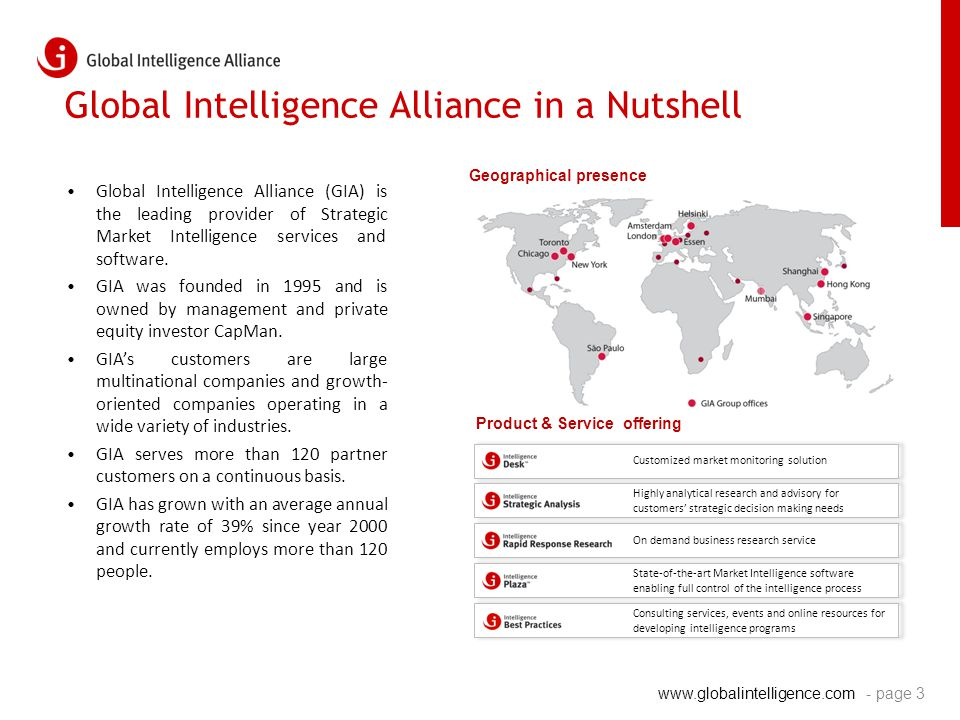 www.globalintelligence.com Global Intelligence Alliance in a Nutshell - page 3 Global Intelligence Alliance (GIA) is the leading provider of Strategic