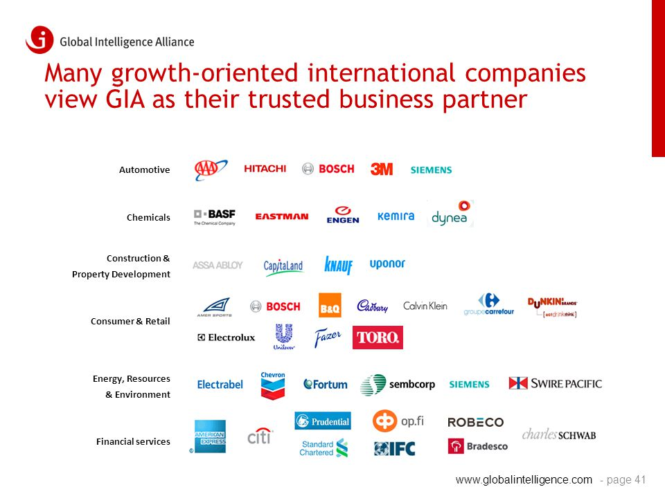 www.globalintelligence.com Many growth-oriented international companies view GIA as their trusted business partner Automotive Chemicals Construction &