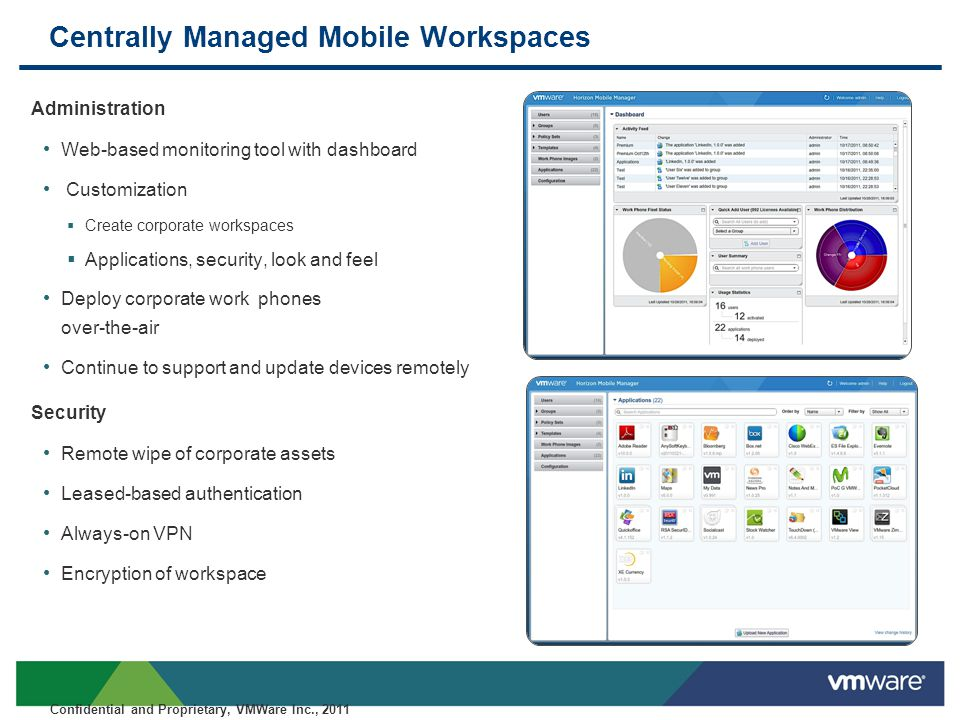 Confidential Embrace Employees' Mobile Way of Working Control and Customize Enterprise Mobile Workspaces Securely Manage Corporate Assets on Mobile Devices VMware Horizon: Android Dual-persona Mobile Workspace