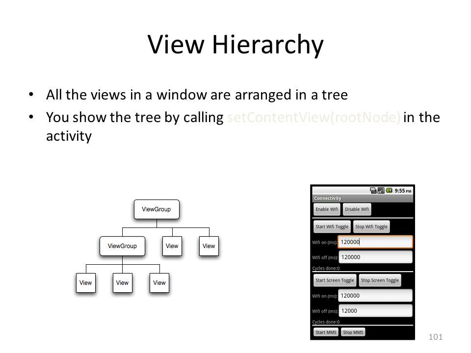 101 View Hierarchy All the views in a window are arranged in a tree You show the tree by calling setContentView(rootNode) in the activity
