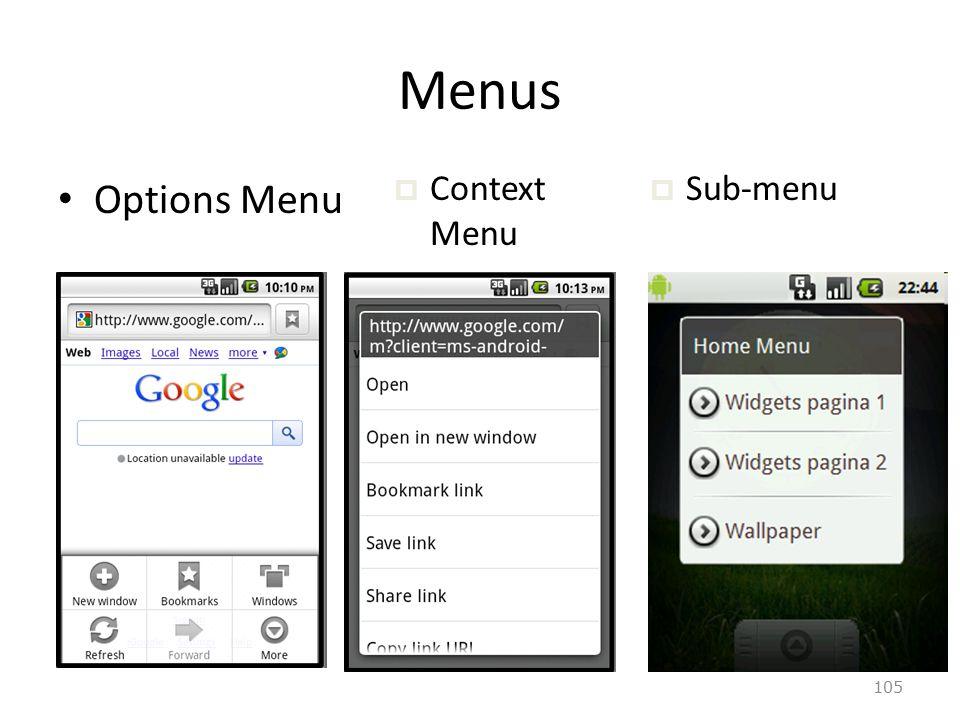 105 Menus Options Menu  Context Menu  Sub-menu