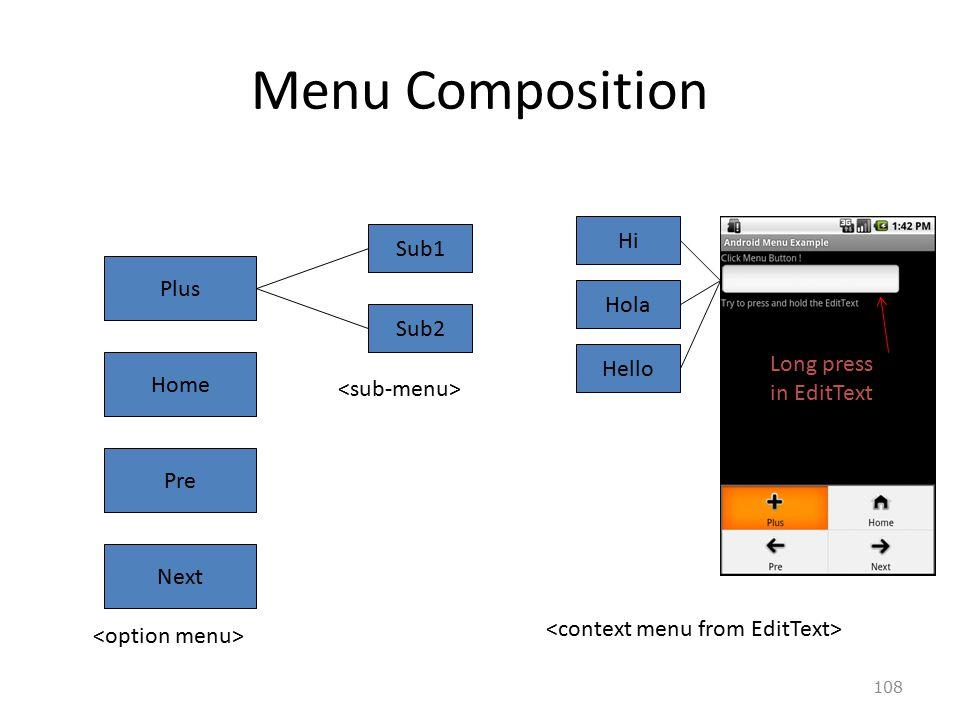 108 Menu Composition Plus Home Pre Next Sub1 Sub2 Hi Hola Hello Long press in EditText