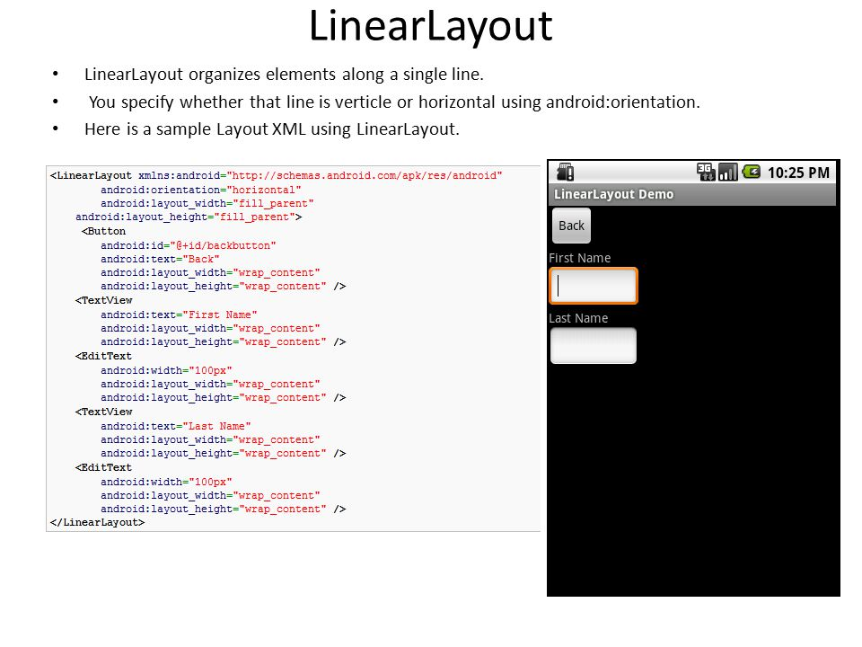 LinearLayout LinearLayout organizes elements along a single line.