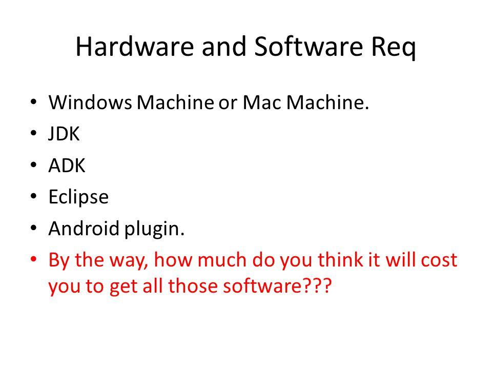 Hardware and Software Req Windows Machine or Mac Machine.