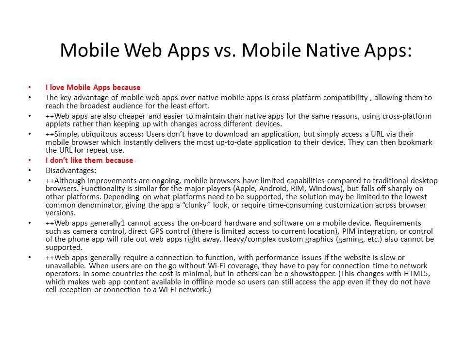 Mobile Web Apps vs.