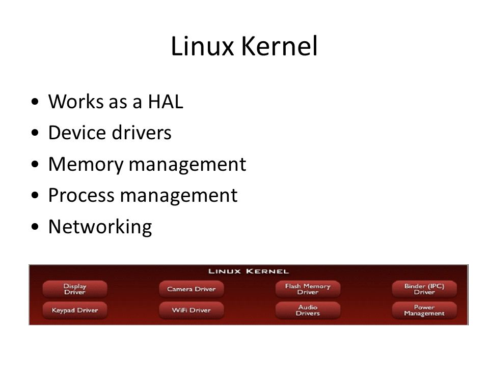 Linux Kernel Works as a HAL Device drivers Memory management Process management Networking