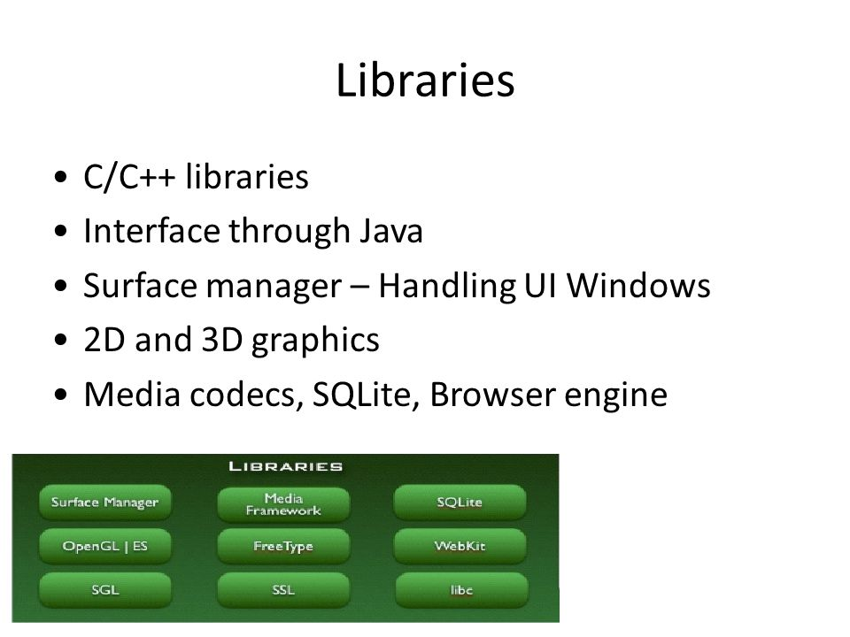 Libraries C/C++ libraries Interface through Java Surface manager – Handling UI Windows 2D and 3D graphics Media codecs, SQLite, Browser engine