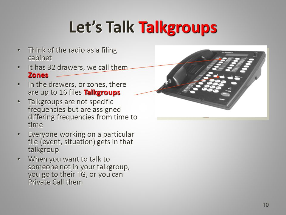 Let's Talk Talkgroups Think of the radio as a filing cabinet Think of the radio as a filing cabinet It has 32 drawers, we call them Zones It has 32 drawers, we call them Zones In the drawers, or zones, there are up to 16 files Talkgroups In the drawers, or zones, there are up to 16 files Talkgroups Talkgroups are not specific frequencies but are assigned differing frequencies from time to time Talkgroups are not specific frequencies but are assigned differing frequencies from time to time Everyone working on a particular file (event, situation) gets in that talkgroup Everyone working on a particular file (event, situation) gets in that talkgroup When you want to talk to someone not in your talkgroup, you go to their TG, or you can Private Call them When you want to talk to someone not in your talkgroup, you go to their TG, or you can Private Call them 10