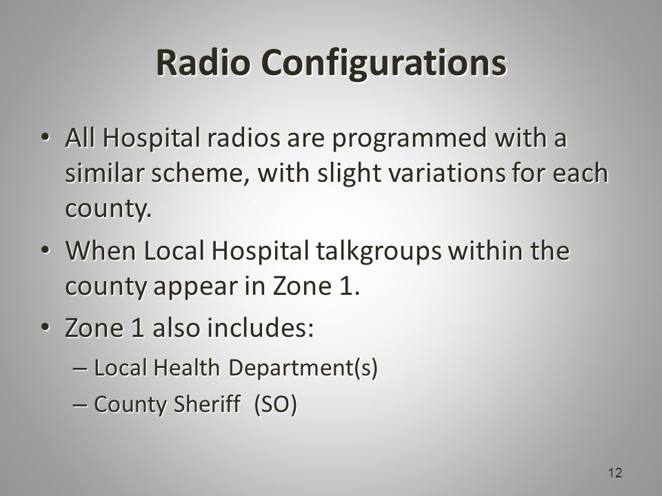 Radio Configurations All Hospital radios are programmed with a similar scheme, with slight variations for each county.