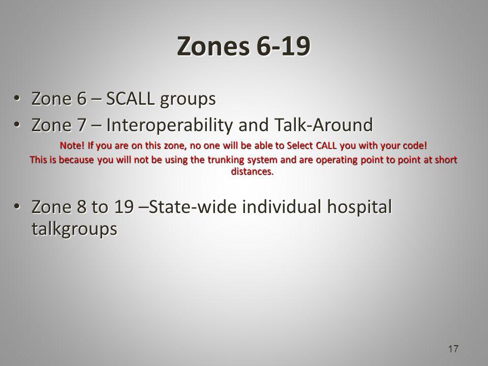 Zones 6-19 Zone 6 – SCALL groups Zone 6 – SCALL groups Zone 7 – Interoperability and Talk-Around Zone 7 – Interoperability and Talk-Around Note.