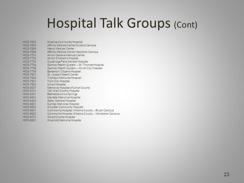 Hospital Talk Groups (Cont) 23 HOS-7602Alliance Community Hospital HOS-7603Affinity Medical Center Doctors Campus HOS-7604Mercy Medical Center HOS-7605Affinity Medical Center Massillon Campus HOS-7701Akron General Medical Center HOS-7702Akron Children s Hospital HOS-7703Cuyahoga Falls General Hospital HOS-7704Summa Health System -- St.